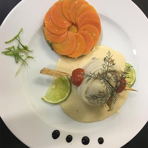 Entrée à base de poisson et carottes